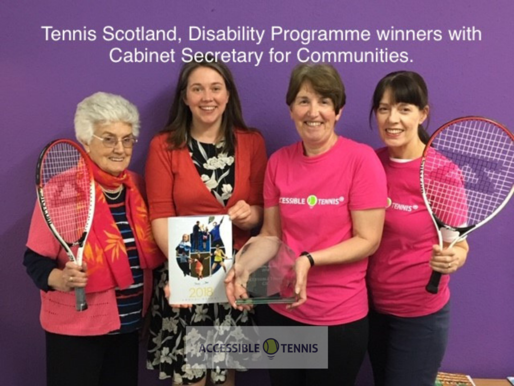 Marie and team meeting Aileen Campbell, with the 2018 Tennis Scotland Award for Disability Programme